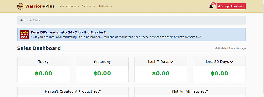 warriorplus affiliate dashboard